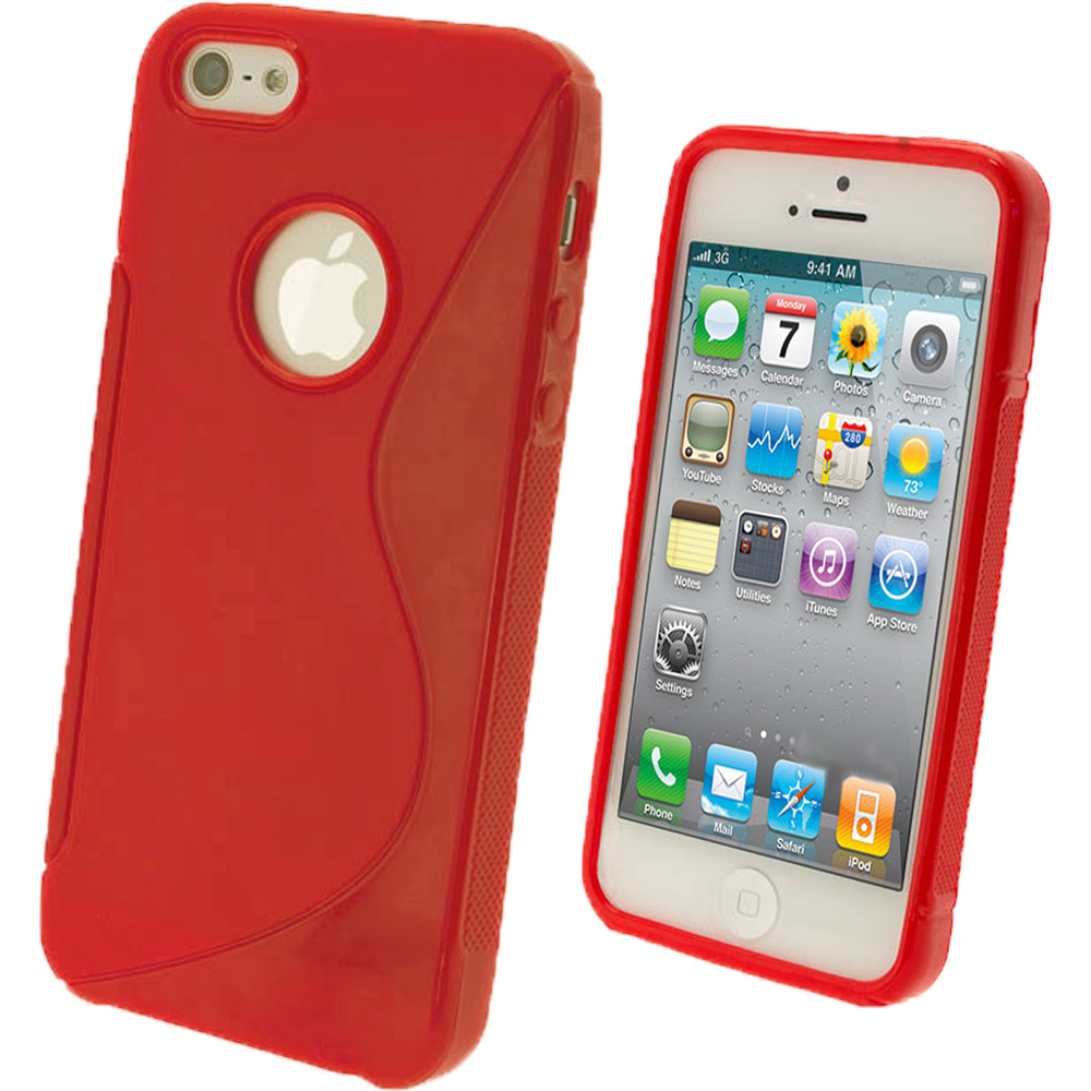 iGadgitz Dual Tone Red Gel Case for Apple iPhone SE, 5S & 5 + Screen Protector (not suitable for 5C)