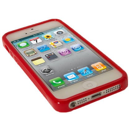 iGadgitz Dual Tone Red Gel Case for Apple iPhone SE, 5S & 5 + Screen Protector (not suitable for 5C) Thumbnail 4