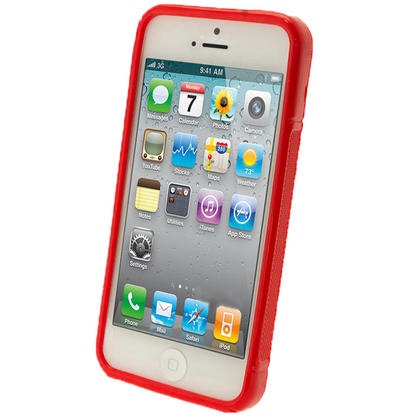 iGadgitz Dual Tone Red Gel Case for Apple iPhone SE, 5S & 5 + Screen Protector (not suitable for 5C) Thumbnail 2