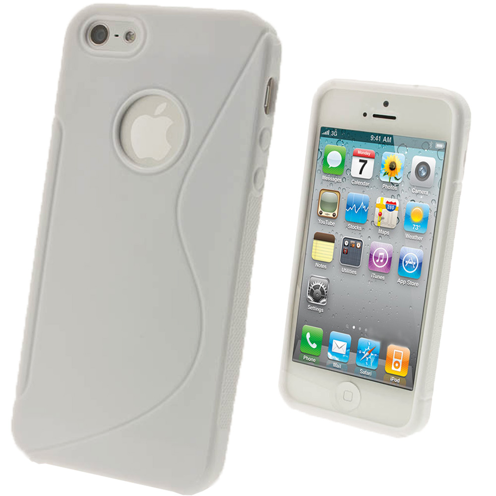 iGadgitz Dual Tone White Gel Case for Apple iPhone SE, 5S & 5 + Screen Protector (not suitable for 5C)
