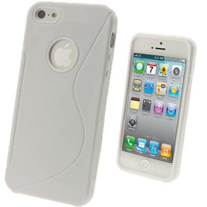 iGadgitz Dual Tone White Gel Case for Apple iPhone SE, 5S & 5 + Screen Protector (not suitable for 5C) Thumbnail 1