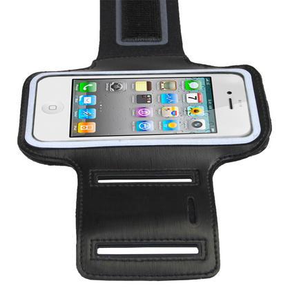 iGadgitz Black Reflective Anti-Slip Neoprene Sports Gym Jogging Armband for Apple iPhone SE, 5S, 5, 5C Thumbnail 3
