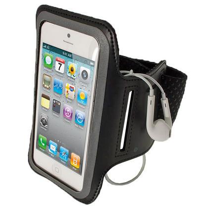 iGadgitz Black Reflective Anti-Slip Neoprene Sports Gym Jogging Armband for Apple iPhone SE, 5S, 5, 5C Thumbnail 1