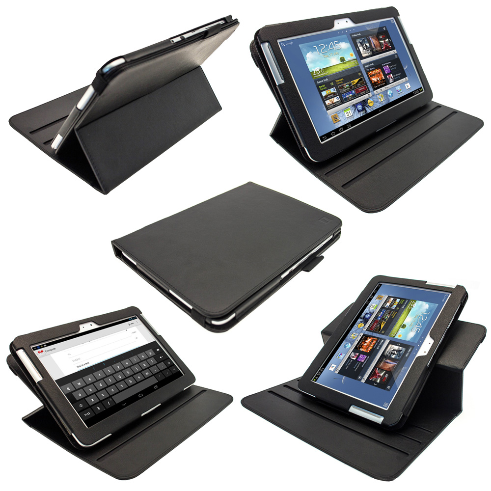 iGadgitz Black 360° Rotating Detachable PU Leather Case for Samsung Galaxy Note 10.1 N8000 Tablet + Screen Protector