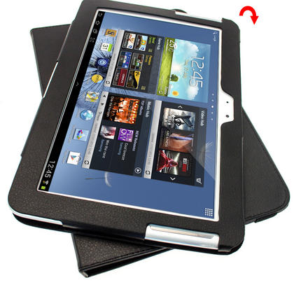 iGadgitz Black 360° Rotating Detachable PU Leather Case for Samsung Galaxy Note 10.1 N8000 Tablet + Screen Protector Thumbnail 8