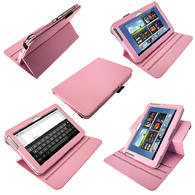 iGadgitz Pink 360° Rotating Detachable PU Leather Case for Samsung Galaxy Note 10.1 N8000 Tablet + Screen Protector