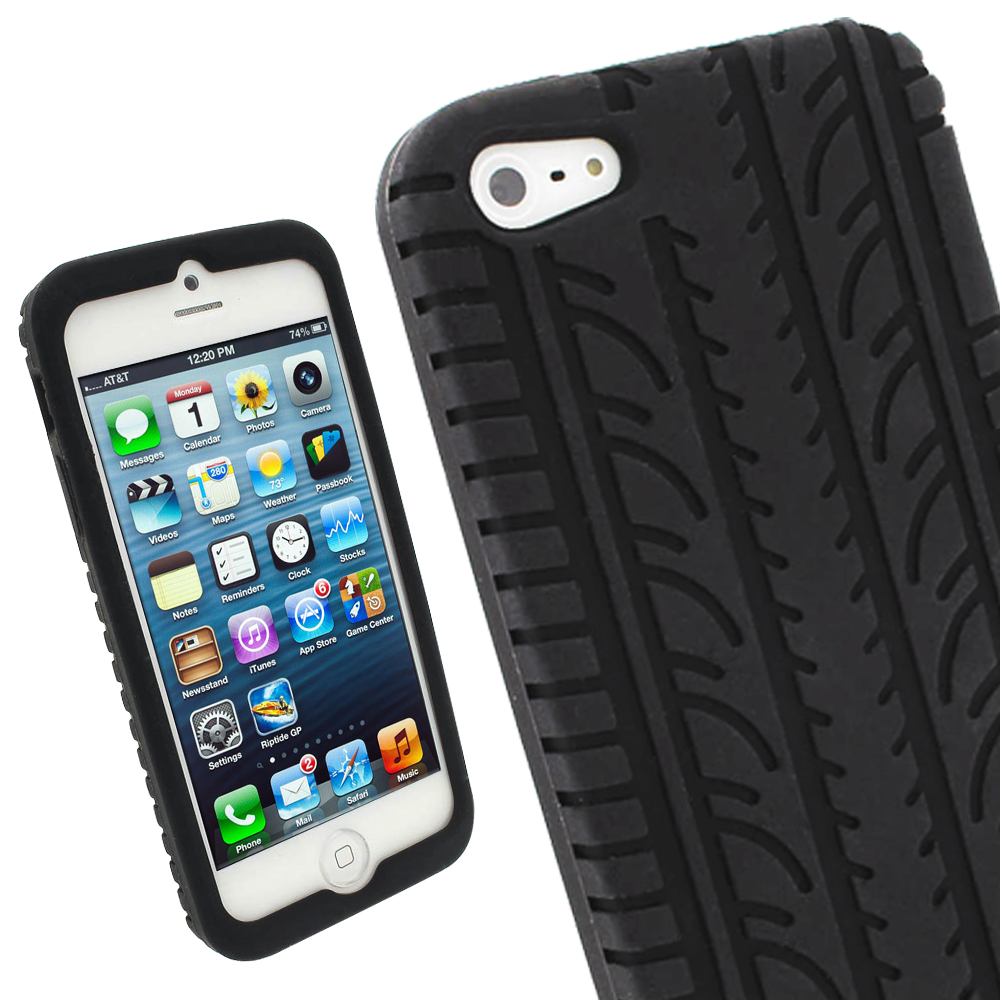 iGadgitz Black Tyre Tread Silicone Case forApple iPhone SE, 5S & 5 + Screen Protector (not suitable for 5C)