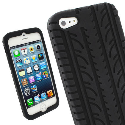 iGadgitz Black Tyre Tread Silicone Case forApple iPhone SE, 5S & 5 + Screen Protector (not suitable for 5C) Thumbnail 1