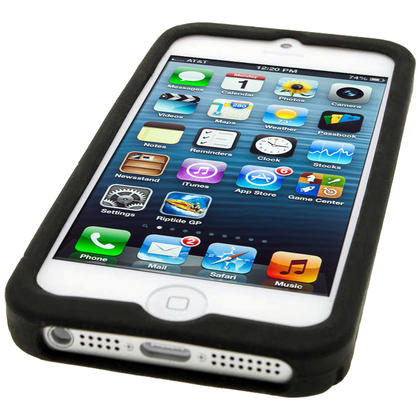 iGadgitz Black Tyre Tread Silicone Case forApple iPhone SE, 5S & 5 + Screen Protector (not suitable for 5C) Thumbnail 4