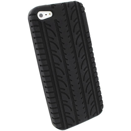 iGadgitz Black Tyre Tread Silicone Case forApple iPhone SE, 5S & 5 + Screen Protector (not suitable for 5C) Thumbnail 3