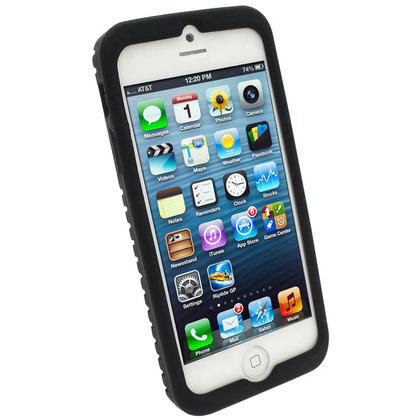 iGadgitz Black Tyre Tread Silicone Case forApple iPhone SE, 5S & 5 + Screen Protector (not suitable for 5C) Thumbnail 2