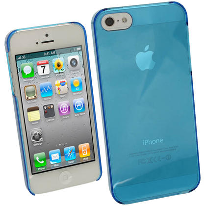 iGadgitz Blue Tinted PC Hard Case Cover for Apple iPhone SE, 5S & 5 + Screen Protector (Not suitable for iPhone 5C) Thumbnail 1