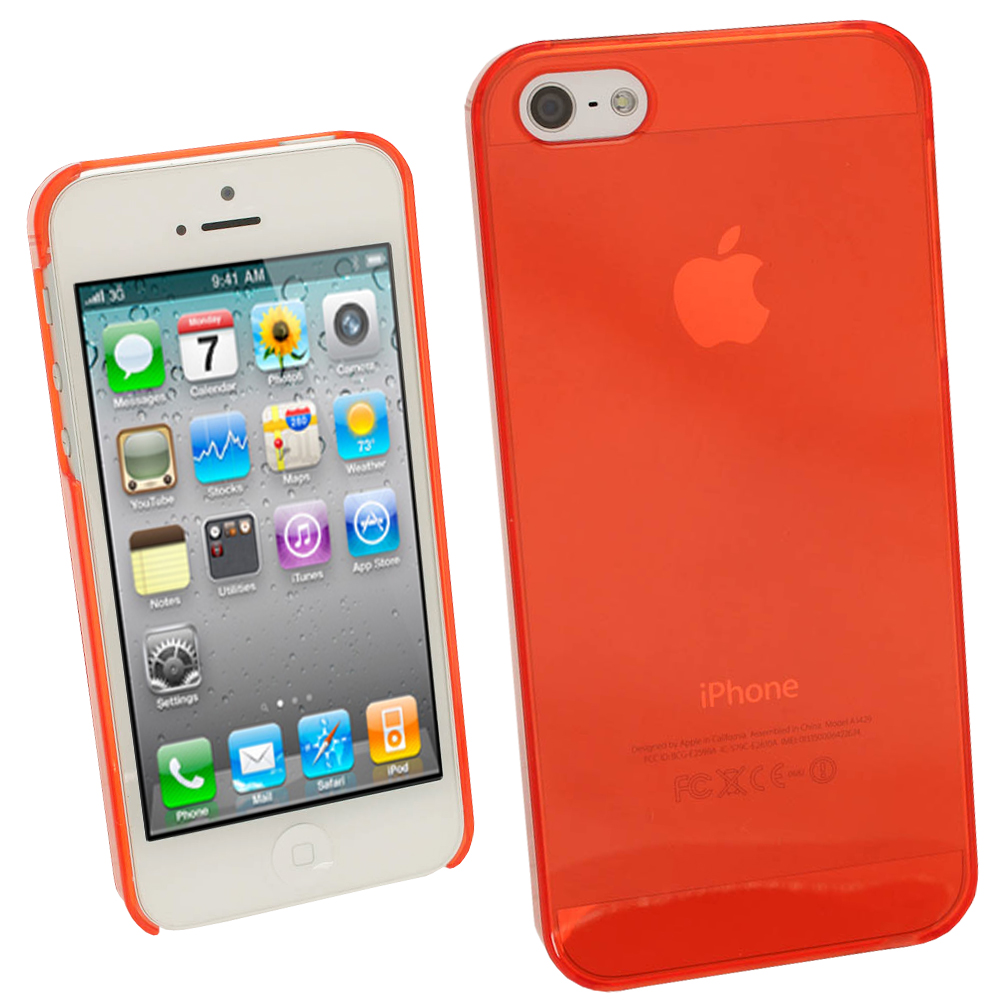 iGadgitz Red Tinted PC Hard Case Cover for Apple iPhone SE, 5S & 5 + Screen Protector (Not suitable for iPhone 5C)