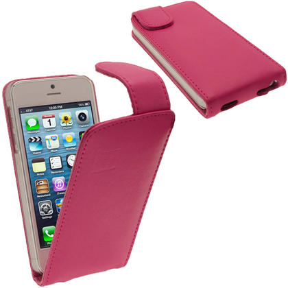 iGadgitz Pink Leather Case Cover Holder for Apple iPhone SE, 5S & 5 + Screen Protector (Not suitable for iPhone 5C) Thumbnail 1