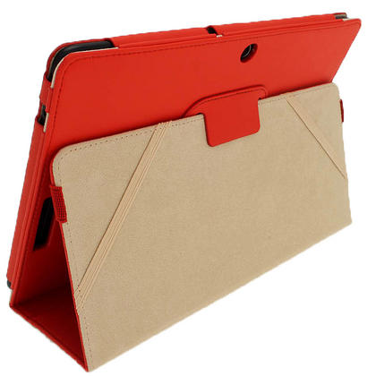 "iGadgitz Red 'Portfolio' PU Leather Case Cover for Asus Eee Pad Transformer & Keyboard Dock TF300 TF300T 10.1"" Tablet Thumbnail 4"