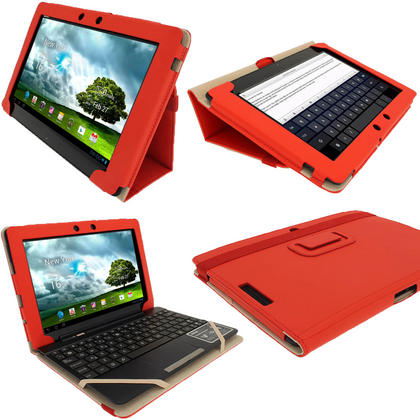 "iGadgitz Red 'Portfolio' PU Leather Case Cover for Asus Eee Pad Transformer & Keyboard Dock TF300 TF300T 10.1"" Tablet Thumbnail 1"