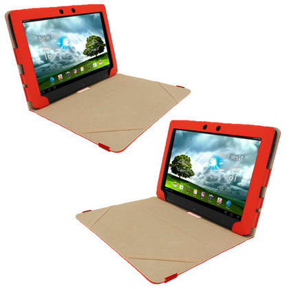 "iGadgitz Red 'Portfolio' PU Leather Case Cover for Asus Eee Pad Transformer & Keyboard Dock TF300 TF300T 10.1"" Tablet Thumbnail 2"