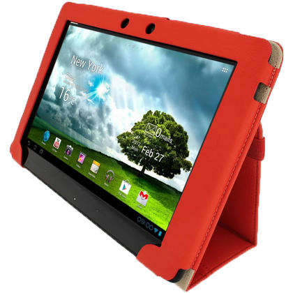 "iGadgitz Red 'Portfolio' PU Leather Case Cover for Asus Eee Pad Transformer & Keyboard Dock TF300 TF300T 10.1"" Tablet Thumbnail 3"
