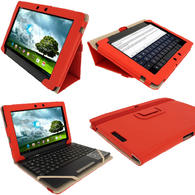 "iGadgitz Red 'Portfolio' PU Leather Case Cover for Asus Eee Pad Transformer & Keyboard Dock TF300 TF300T 10.1"" Tablet"
