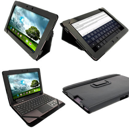 "iGadgitz Black 'Portfolio' PU Leather Case for Asus Transformer Pad & Keyboard Dock TF700 TF700T Infinity 10.1"" Tablet Thumbnail 1"