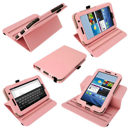 iGadgitz Pink 360° Rotating Detachable PU Leather Case for Samsung Galaxy Tab 2 P3100 P3110 7.0 4.0 + Screen Protector Thumbnail 1