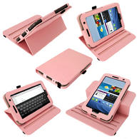 iGadgitz Pink 360° Rotating Detachable PU Leather Case for Samsung Galaxy Tab 2 P3100 P3110 7.0 4.0 + Screen Protector