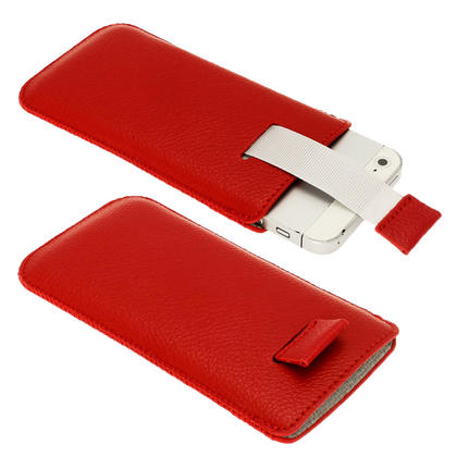 iGadgitz Red Leather Pouch Case Cover for New Apple iPhone 5 5S 5C SE Mobile Phone 4G LTE Thumbnail 2