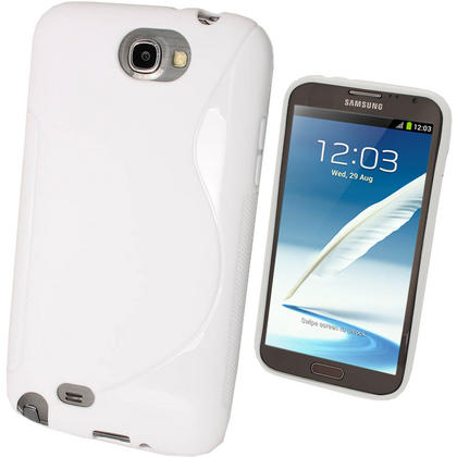 iGadgitz Dual Tone White Gel Case for Samsung Galaxy Note 2 II N7100 Smartphone Tablet + Screen Protector Thumbnail 1