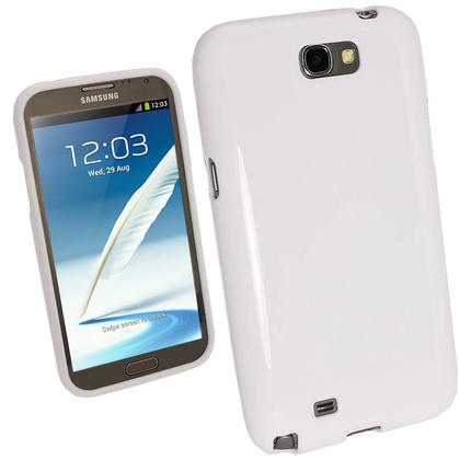 iGadgitz White Glossy Gel Case for Samsung Galaxy Note 2 II N7100 Smartphone Tablet + Screen Protector Thumbnail 1
