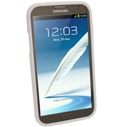 iGadgitz White Glossy Gel Case for Samsung Galaxy Note 2 II N7100 Smartphone Tablet + Screen Protector Thumbnail 2