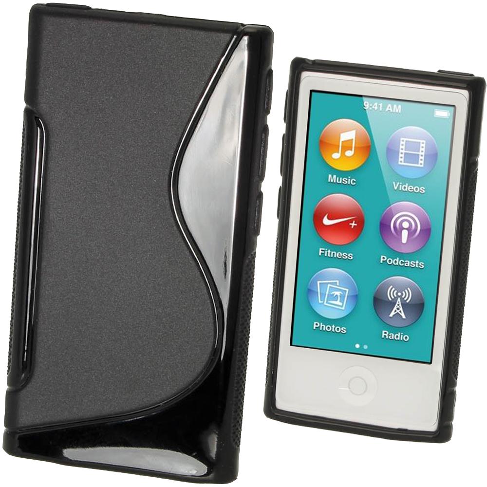 iGadgitz Dual Tone Black Gel Case for Apple iPod Nano 7th Generation 7G 16GB + Screen Protector