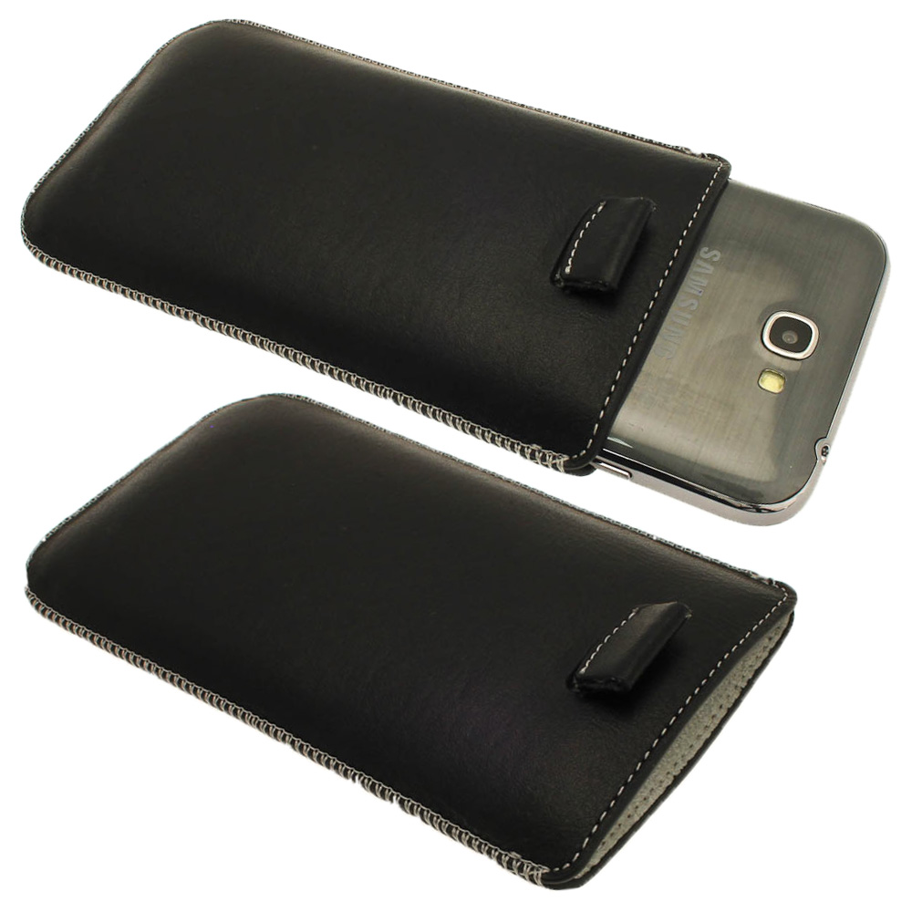 iGadgitz Black Genuine Leather Pouch Case with Elasticated Pull Tab for Samsung Galaxy Note 2 II N7100 Smartphone Tablet