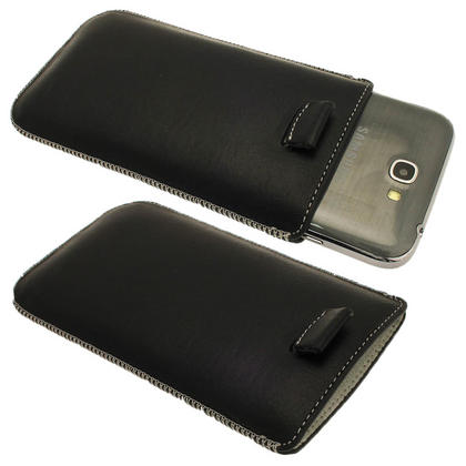 iGadgitz Black Genuine Leather Pouch Case with Elasticated Pull Tab for Samsung Galaxy Note 2 II N7100 Smartphone Tablet Thumbnail 1