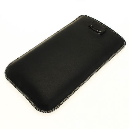 iGadgitz Black Genuine Leather Pouch Case with Elasticated Pull Tab for Samsung Galaxy Note 2 II N7100 Smartphone Tablet Thumbnail 3
