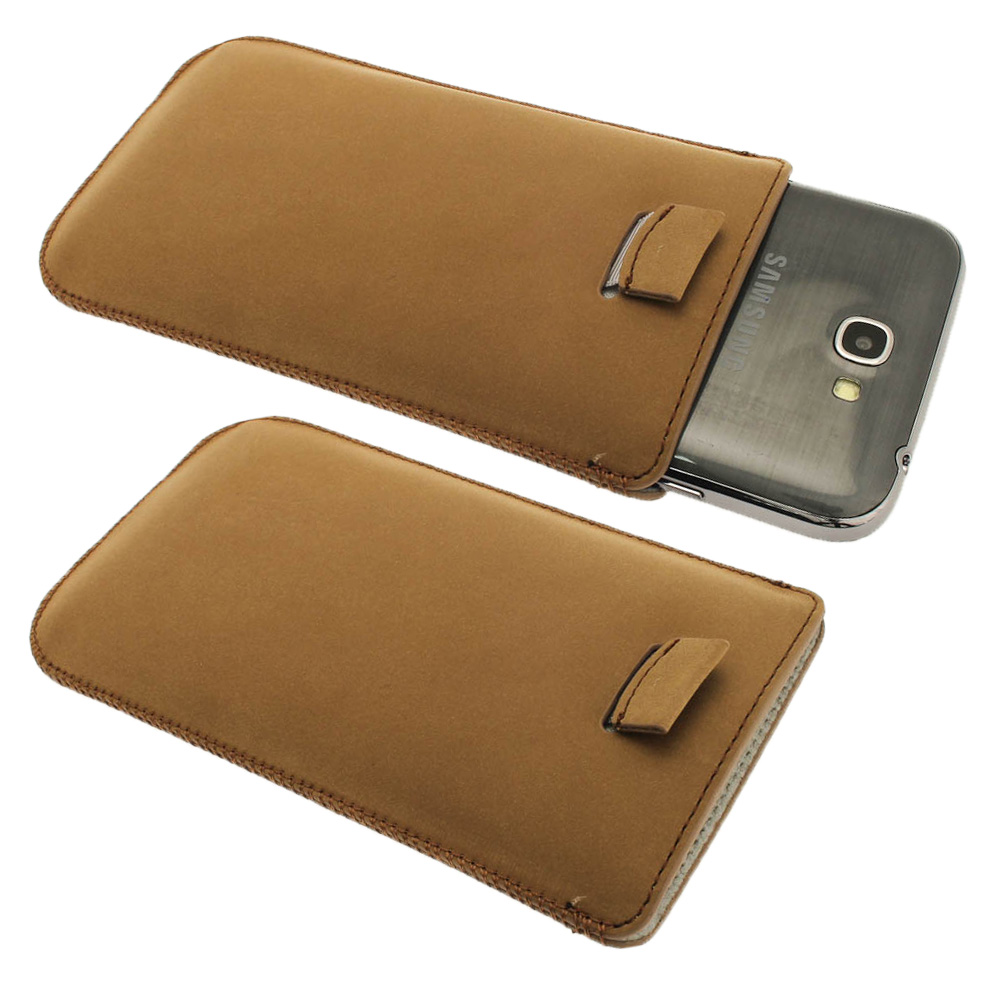 iGadgitz Brown Genuine Leather Pouch Case with Elasticated Pull Tab for Samsung Galaxy Note 2 II N7100 Smartphone Tablet