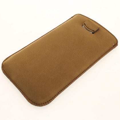 iGadgitz Brown Genuine Leather Pouch Case with Elasticated Pull Tab for Samsung Galaxy Note 2 II N7100 Smartphone Tablet Thumbnail 3