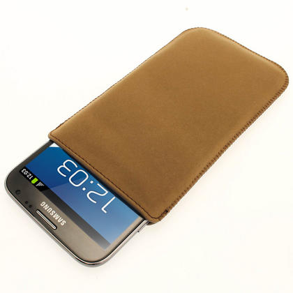 iGadgitz Brown Genuine Leather Pouch Case with Elasticated Pull Tab for Samsung Galaxy Note 2 II N7100 Smartphone Tablet Thumbnail 2