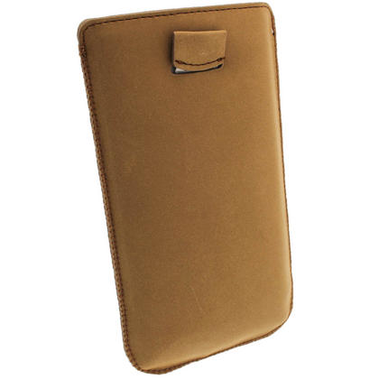 iGadgitz Brown Genuine Leather Pouch Case with Elasticated Pull Tab for Samsung Galaxy Note 2 II N7100 Smartphone Tablet Thumbnail 4