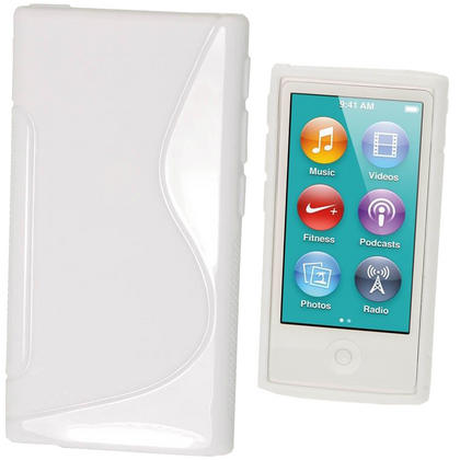 iGadgitz Dual Tone White Gel Case for Apple iPod Nano 7th Generation 7G 16GB + Screen Protector Thumbnail 1