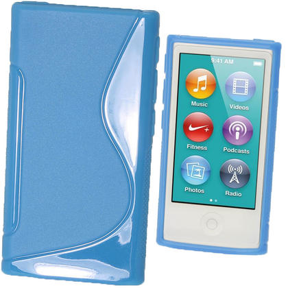 iGadgitz Dual Tone Blue Gel Case for Apple iPod Nano 7th Generation 7G 16GB + Screen Protector Thumbnail 1