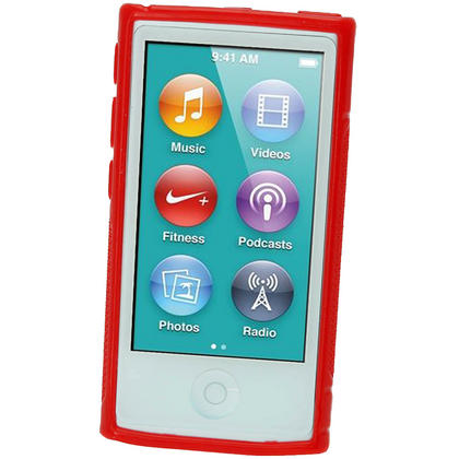 iGadgitz Dual Tone Red Gel Case for Apple iPod Nano 7th Generation 7G 16GB + Screen Protector Thumbnail 2