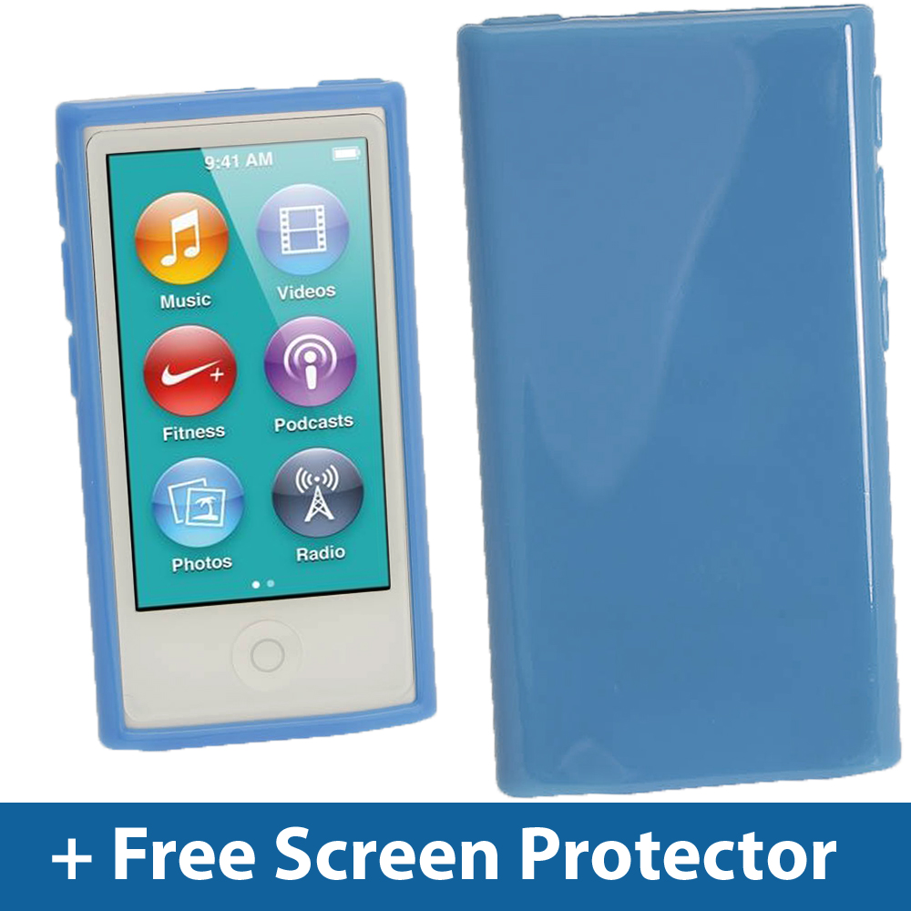 blue glossy tpu gel case for new apple ipod nano 7th. Black Bedroom Furniture Sets. Home Design Ideas