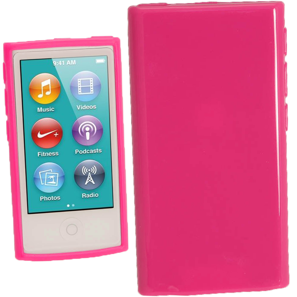 iGadgitz Hot Pink Glossy Gel Case for Apple iPod Nano 7th Generation 7G 16GB + Screen Protector
