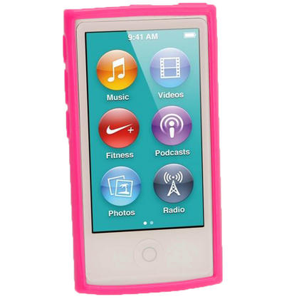 iGadgitz Hot Pink Glossy Gel Case for Apple iPod Nano 7th Generation 7G 16GB + Screen Protector Thumbnail 2