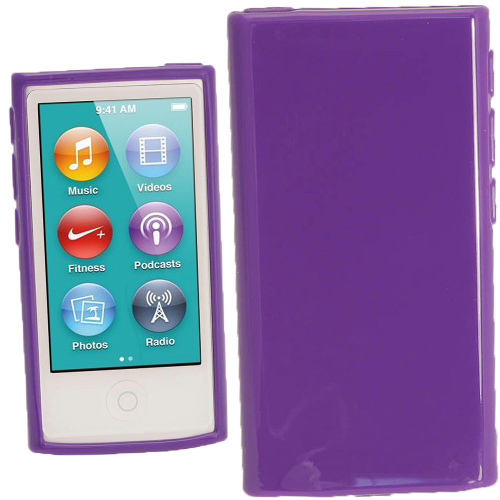 iGadgitz Purple Glossy Gel Case for Apple iPod Nano 7th Generation 7G 16GB + Screen Protector