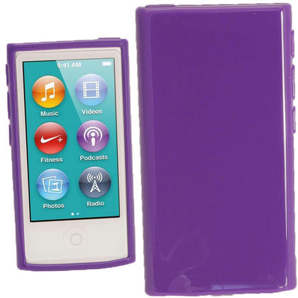 iGadgitz Purple Glossy Gel Case for Apple iPod Nano 7th Generation 7G 16GB + Screen Protector Thumbnail 1