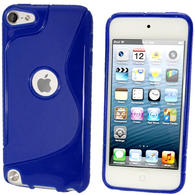 iGadgitz S Line Blue Crystal Gel Skin (TPU) Case Cover for Apple iPod Touch 6th & 5th Generation + Screen Protector