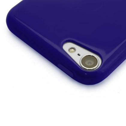 iGadgitz Blue Glossy Crystal Gel Skin TPU Case Cover for Apple iPod Touch 6th & 5th Generation + Screen Protector Thumbnail 2