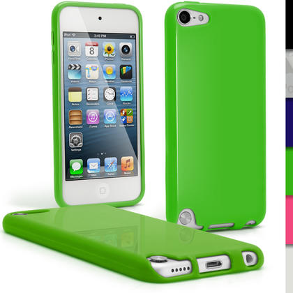 iGadgitz Green Glossy Crystal Gel Skin TPU Case Cover for Apple iPod Touch 6th & 5th Generation + Screen Protector Thumbnail 1