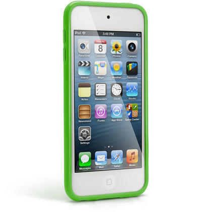 iGadgitz Green Glossy Crystal Gel Skin TPU Case Cover for Apple iPod Touch 6th & 5th Generation + Screen Protector Thumbnail 4